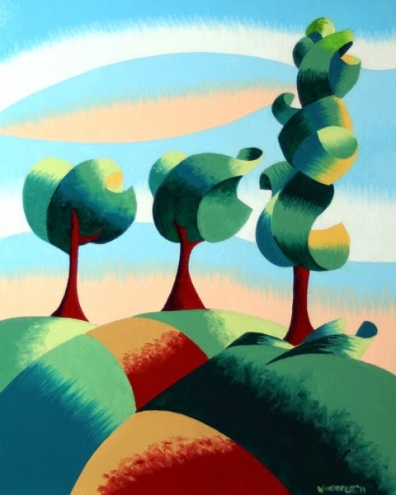 three trees   abstract landscape oil painting